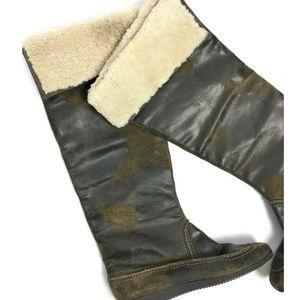 KORS Michael Kors Paley Shearling Cuff Waxed Boots
